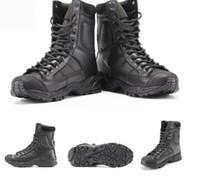 taktische militärische schwarze stiefel großhandel-Militärische Armee Stiefel Männer Schwarz Leder Desert Combat Arbeitsschuhe Winter Herren Ankle Tactical Boot Man Plus Größe