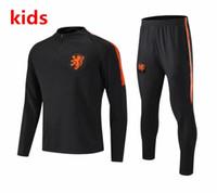 trajes de niños ropa deportiva al por mayor-2018 2019 Chaqueta de fútbol holandesa para niños Chándal 18 19 chandal Trajes de entrenamiento holandeses ROBBEN MEMPHIS PERSIE Camiseta deportiva de fútbol