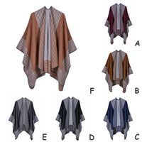 Wholesale plain white neckerchiefs resale online - Women Men Plain Stripe Warm Shawl Wrap Scarf Beach Evening Party Polyester Soft Long Blanket Scarves Charm Stole Cape Neckerchief Poncho