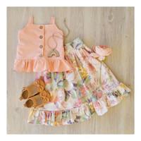 neue design-tops für mädchen großhandel-2019 New Baby Girls Sommer floral Outfit zwei Stück Set (Strapsoberteil + Blume gedruckt Faltenröcke) Kids Urlaub Sets Design Kleidung