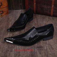 zapatos de acero con punta de los hombres al por mayor-Choudory zapatos de dedo del pie zapatos de los hombres de acero italiano hombre hombres pico zapatos negros puntiagudos marcas del juego de pies de vestir mocasines de boda
