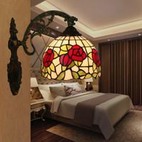 ayna aydınlatma toptan satış-Tiffany Wandlamp Yatak Odası Başucu Lambası Amerikan Eski Ayna Işık Oturma Odası Balkon Koridor Merdiven Lamparas de pared