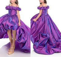 Wholesale short sleeve girls ball gown resale online - 2020 Asymmetrical Hi Lo Little Girls Pageant Dresses Organza Piping Draped Off Shoulder Flowers Birthday Party Dress Kids Flower Girl Dress