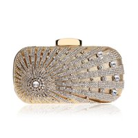 Wholesale side clutch chain bags for sale - Group buy New Design Flower Crystal Metal Women Evening Clutch One Side Rhinestones Chain Handbags Party Wedding Bridal Purse
