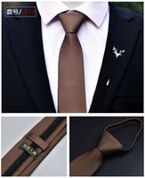 reißverschluss seidenkrawatten großhandel-Mens Ties Formal Wear Geschäftskrawatte 6cm Hochzeit Administrative Zipper Pfeil Krawatte Gestreifte Polyester Seidenkrawatte für Männer