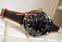ingrosso orologi di qualità arancione-Articoli di alta qualità di lusso di alta qualità arancione 43,5 millimetri pianeta oceano coassiale in acciaio inossidabile trasparente meccanico automatico orologi da uomo