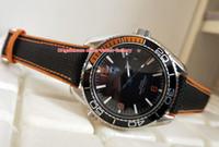relógios de luxo laranja venda por atacado-Hot Items Luxo de Alta Qualidade Laranja 43.5mm Planeta Oceano Co-Axial de Aço Inoxidável Transparente Mecânico Automático Mens Watch Relógios
