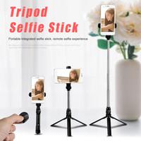 ausziehbarer selbst-selbststock handheld großhandel-Bluetooth selfie stick mini stativ selfie stick ausziehbare handheld selbstporträt mit bluetooth fernauslöser für iphone x 8 7 mit box