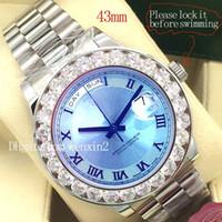 relógios de luxo azul venda por atacado-6 Cores de Luxo Assista 2813 Automático 41mm 43mm DAY DATE Grande Azul de Gelo Roma Rosto Mecânica Relógios Masculinos Original 18 K Ouro de Aço Inoxidável