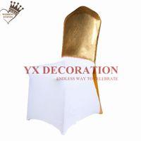 ingrosso tappi per banchetti-15 colori Bronzing Metalic Cap Cap Hood per White Spandex Chair Cover Decoration Wedding Banquet Event