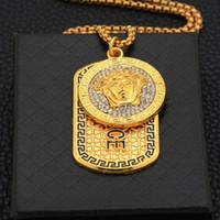 хип-хоп длинные ожерелья оптовых-Высокое качество Мужская Хип-Хоп Длинное Ожерелье Золотые Цепочки Медузы Замороженные Ожерелья Мода Алмазный Кулон Дизайнер Ювелирные Изделия