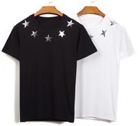 camisa de algodão com lantejoulas venda por atacado-2019 Estilo Moda Homens Mulheres de Couro Lantejoulas Pentagonal Estrela Manga Curta T-Shirt Casual Algodão Esportes T-Shirt Camisola