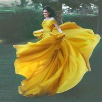 Wholesale diamond spring water for sale - Group buy Charming Yellow Elegant Evening Formal Dresses Off Shoulder Prom Dress Diamond Sash Evening Dresses Crystal Beaded robes de soirée