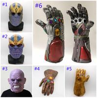 máscara de látex para homens venda por atacado-6 Estilo Vingadores 4 Endgame Thanos máscara luvas De Homem De Ferro 2019 Novas crianças adulto Halloween cosplay látex Natural Infinito Gauntlet Brinquedos B