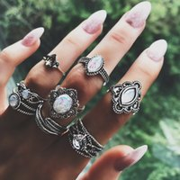 Wholesale ring feathers resale online - 8 set Women Boho Hollow Leaf Feather Heart Opal Crystal Silver Joint Ring Set Party Wedding Clothing Accessories