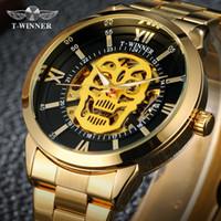 автоматический скелет часы мужчины оптовых-Winner Steampunk Fashion Casual Designer Stainless Steel Men Skeleton Watch Mens Watches Top  Automatic Watch Clock