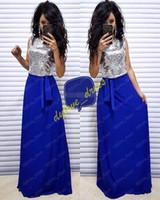 mavi ışıltılı kızlar elbiseli toptan satış-2019 sparkle zarif kraliyet mavi uzun artı boyutu afrika siyah kız arapça gelinlik modelleri vestido de noche örgün elbise abiye ...