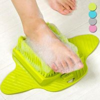 Wholesale wholesale foot wear online - 4 Colors Foot Bath Shower Brush Spa Washer Cleaner Scrubber Massager Foot Wear With Sucker Can Hang CCA10907