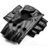 Fashion-New Arrival Female Half Finger Driving Gloves 1 pair Black PU Leather Fingerless Gloves For Women