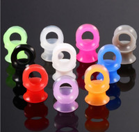 Discount ear plugs gauges sizes Ear Gauges Soft Silicone Ear Plugs Ear Tunnels Body Jewelry Stretchers Multi Colors Size from 3-25mm