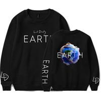 sudaderas con cuello al por mayor-Rapero NUEVO Album Earth Print O-cuello Sudadera Harajuku Collar Redondo Unisex Hombres / Mujeres Sudadera Tamaño S-4XL