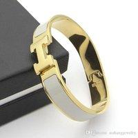 letter gold bracelet großhandel-HB37 2019 natürliche Schmuck Goldplatte H Brief Armband Edelstahl gute Qualität haben verschiedene Farben wählen