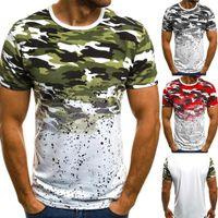 top camisa de algodón para hombre al por mayor-Hombres Camiseta de algodón Casual Manga corta Impreso Verano O-cuello Slim Fit Tops New Men T-Shirt