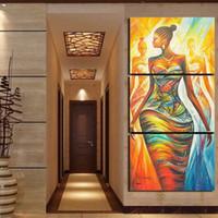 pinturas de arte africana mulheres venda por atacado-Decoração Sala de estar Lona Fotos 3 Peças Abstratas Mulheres Africano Quadro de Quadros de Decoração Poster Wall Art Modern Prints
