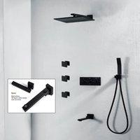 torneira do corpo de bronze venda por atacado-Latão de alta Qualidade Black Shower Set Banheiro 10