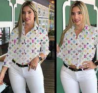 blusas marrones para mujer al por mayor-Camisa de las mujeres del otoño de la solapa de cuello largo mangas de camisas de época Tops de impresión Carta popular marca blusa casual Ropa Blanco Marrón