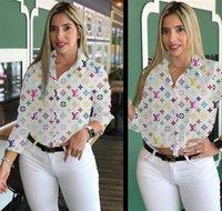 braun blusen für frauen groihandel-Frauen Herbst Hemd Revers Ausschnitt Lange Ärmel Vintage-Tops Beliebte Marke Buchstabedruck Bluse Casual Women Kleidung Weiß Braun