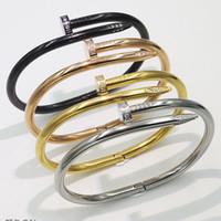 Wholesale best titanium bracelets for sale - Simple Titanium steel stainless steel Nails Bracelet silver Gold Bracelets Bangles Punk for Women men Best gift Jewelry