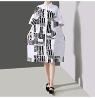 robes coréennes plus achat en gros de-2019 femmes coréennes été plus la taille robe blanche chemise robe motif géométrique imprimé femelle occasionnel surdimensionné lâche midi robe F632