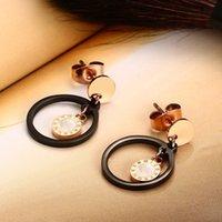réglage de la lunette noire achat en gros de-Cadeau de noël top qualité femmes or rose shell drop boucles d'oreilles lunette en acier inoxydable sertissage boucles d'oreilles eardrops vendeur d'usine 154R