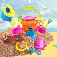 Wholesale promotional toys resale online - Sand Water Beach Play Toys Set Kids Children Seaside Bucket Shovel Rake Kit Building Sea Horse Molds Funny Tools
