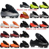 cr7 черные туфли оптовых-2018 мужские футбольные бутсы Mercurial Superfly VI Elite SG AC футбольные бутсы cr7 Неймар футбольные бутсы chuteiras высокие лодыжки botas де футбол черный