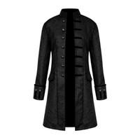 çiçek palto toptan satış-Bahar Retro Gotik Steampunk Ceket Erkekler Vintage Çiçekli Giyim Ceket Rahat Rüzgarlık Düğme Erkek Palto Artı Boyutu Ceket