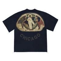 pintando mujeres al por mayor-Summer Street 20SS Jesús es Rey Tee Tres dioses Aceite Pintura religiosa vintage de la camiseta de manga corta Hombres camiseta de las mujeres HFYMTX640