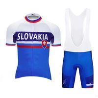 Wholesale bike jerseys kits for sale - Hot Sale SLOVAKIA Men Summer Cycling Short Sleeve Jersey Bike Bib Shorts kits breathable road Bicycle Wear Racing Clothes Set Y022002