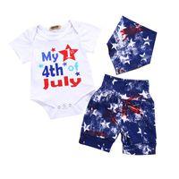 usa eşarplar toptan satış-Bebek Erkek Bebek Tulum Amerikan Bayrağı Bağımsızlık Ulusal Gün ABD 4th Temmuz Beyaz Mektup Baskı Tulum Mavi Yıldız Şort Eşarp