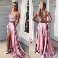 Wholesale navy pocket squares online - 2019 Sexy A line Two piece Pockets Lace Up Split Sleeveless High End Quality Evening Party Dress Hot Sales