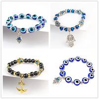 Wholesale evil eye jewelry for men resale online - Fatima Hand Hamsa Bracelet Jewelry Women Man Gold Silver Color Fashion Blue Devil Evil Eye Plam Bell Beaded Anchor Charm Bracelets for Girls