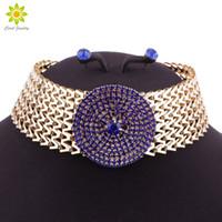 brautjungfer aussage halskette groihandel-Blauer Kristall Statement Halskette Ohrringe Set Indian Wedding Party Modeschmuck Sets für Bräute Brautjungfer Frauen Geschenke