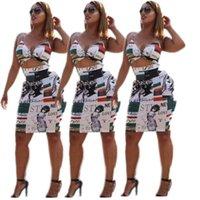 damen kurz zwei stück kleider großhandel-Sommerkleid Frauen zwei Stücke V-Ausschnitt ärmellose Ernte Top Print Strap sexy kurzes Kleid Damen Party sexy Bodycon 2 Stück Kleider