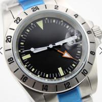 маркеры 24 оптовых-Браслет из нержавеющей стали 40 мм Автоматические мужские часы Часы с фиксированной рамкой с 24-часовой маркировкой Черный циферблат с указателями