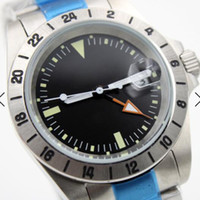 Wholesale 24 dial watch resale online - 40MM Stainless Steel Bracelet Automatic Mens Watch Watches Fixed Bezel Showing Hour Markings Black Dial With Index Hour Markers