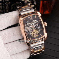 Wholesale mens skeleton bracelets for sale - Group buy Cheap New Kalpa Graph Skeleton Tourbillon Moon Phase Black Dial Automatic Mens Watch Two Tone Gold Steel Bracelet High Quality Watches
