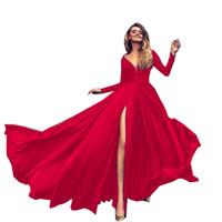 seksi kırmızı akşam yemeği elbisesi toptan satış-Abiye Derin V Boyun Seksi Bölünmüş Katı Kırmızı Maxi Uzun Kollu Zarif Parti Yıldönümü Balo Yemeği Elbise Kadınlar için 6603