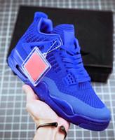 zapatos de cuero de los hombres tejidos al por mayor-Zapatos de baloncesto AQ3559-400 para hombre de cuero genuino 4S Jelly Woven Blue Hyper Royal 4s