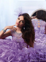 festa vestido de baile usa venda por atacado-2020 Adorável Ball vestido meninas Pageant Vestidos Roxo luvas do boné cristal frisado vestidos da menina da Kids Wear aniversário vestido de festa Comunhão